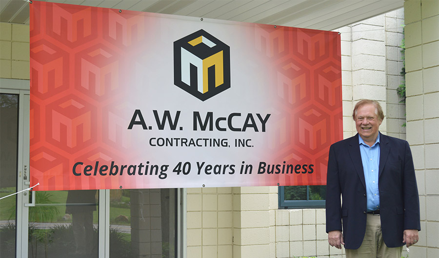 Gus McCay of McCay Contracting celebrating 40 years in business